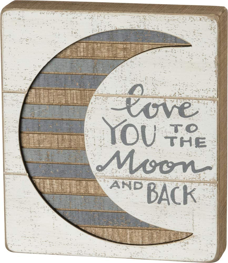 "Primitives by Kathy Hand-Lettered Slat Box Sign, 7"" x 8"", To The Moon And Back"