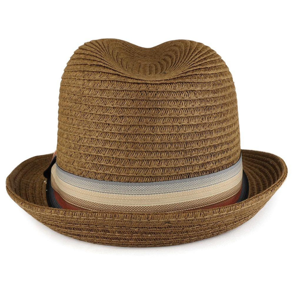 2e08e2f02fae8 XXL Oversized Stylish Basic Stingy Straw Fedora Hat - BROWN at Amazon Men s  Clothing store