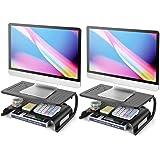 Monitor Stand Riser - 2 Tier Monitor Riser for Computer, Laptop, Desktop, PC & Printer, 2 Pack Metal Vented Laptop Riser…