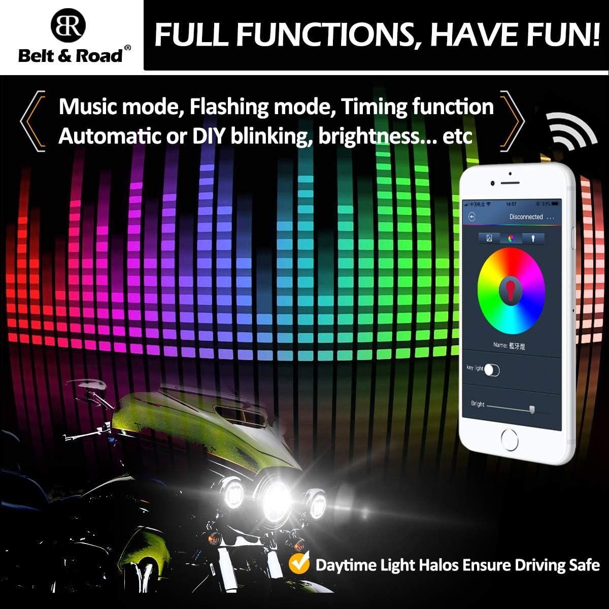 DOT H4 7 Multicolor Halo Faro Faro & RGB Halo Paso Luz para ...