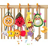TUMAMA Baby Toys for 3 6 9 12 Months,Hanging Fruit Rattles Avocado,Banana,Orange and Strawberry,Stroller Mobile Toys…