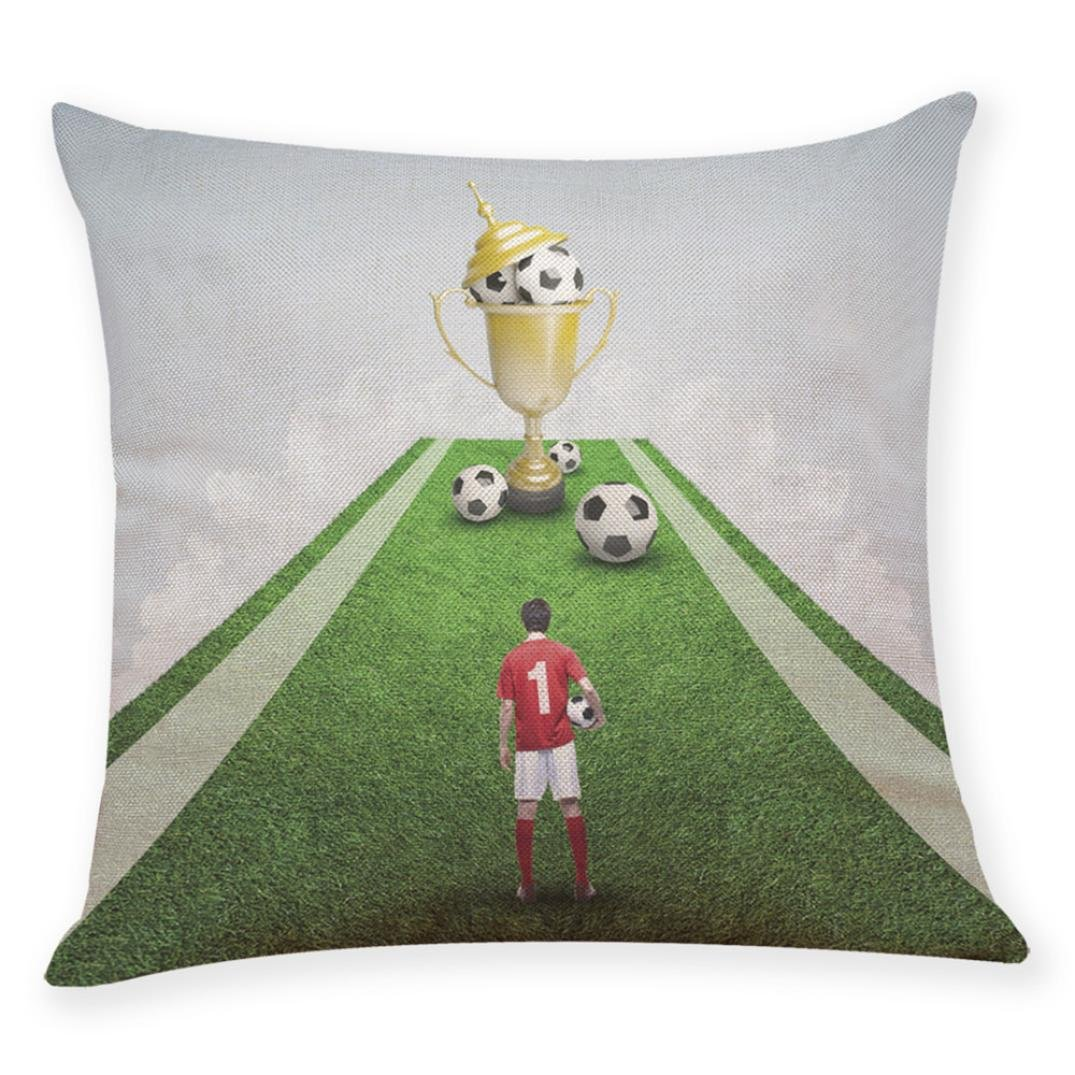 Dacawin HOT {World Cup Pillow Covers 2018}Home Decor Cushion Cover Football Soccer Throw Pillowcase (MulticolorP, 45 45cm)