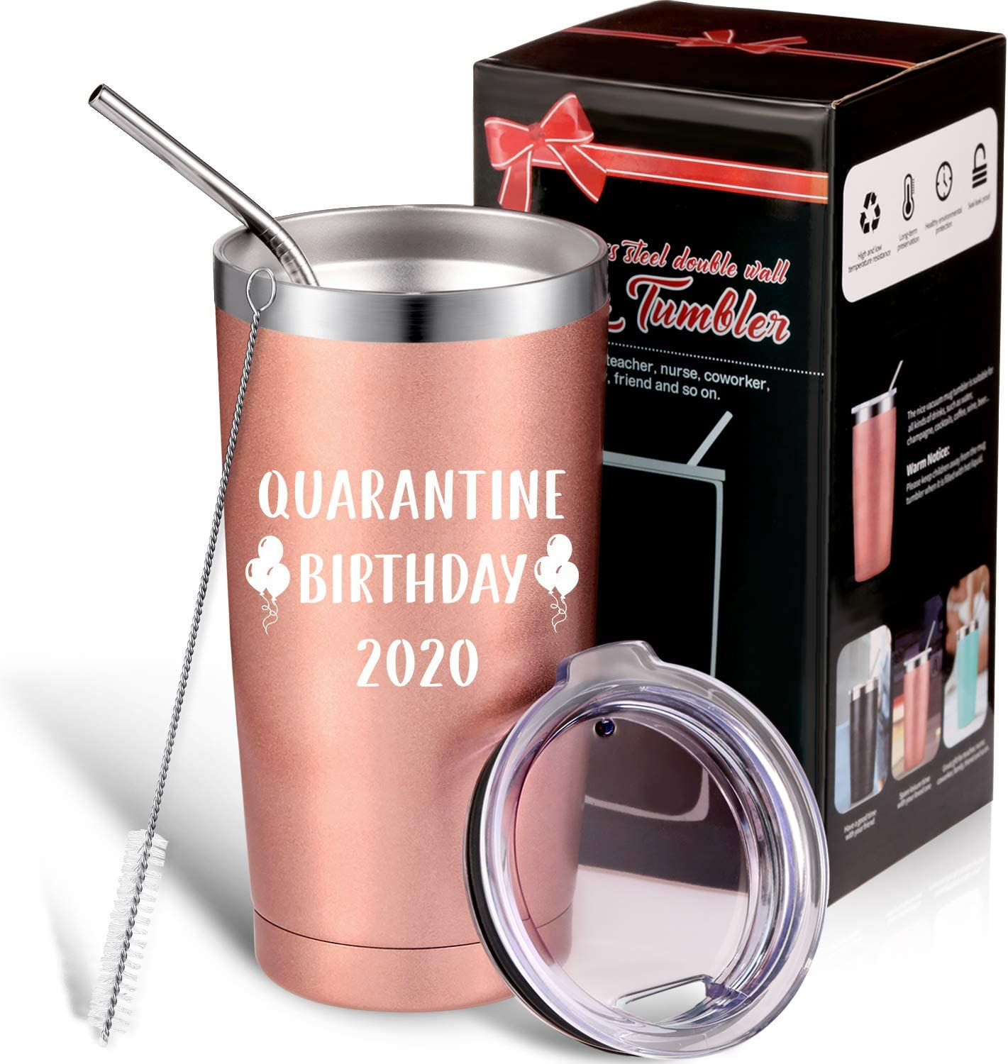 Quarantine Birthday 2020 Novelty Gift, Funny Birthday Cup Social Distance Quarantine Birthday Present for Women Men, 20 oz Stainless Steel Vacuum Insulated Mug Tumbler with Straw Brush and Lid