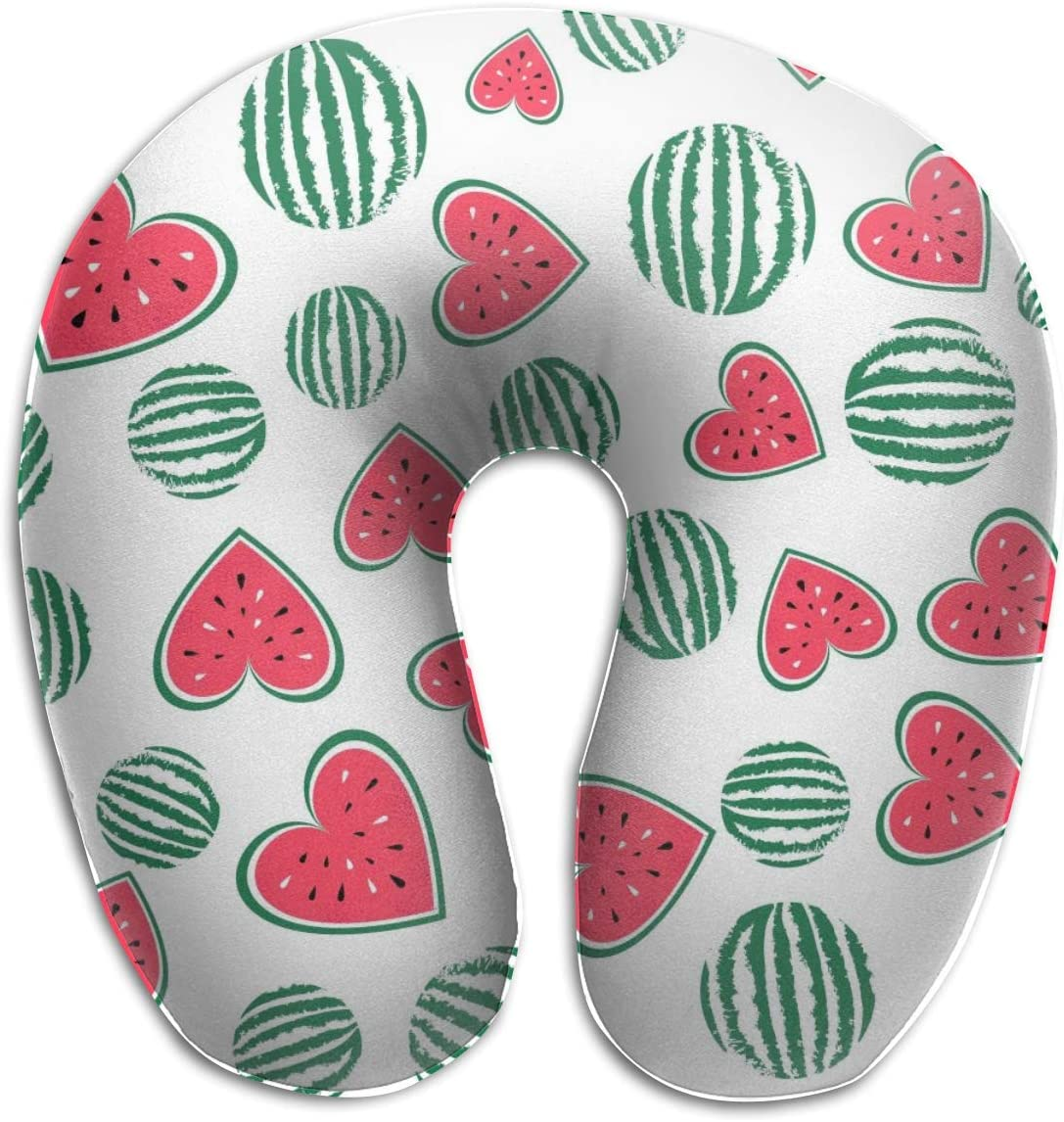 HijingTT Watermelon Loving Heart U Shaped Neck Pillow Comfortable Soft Microfiber Neck-Supportive Travel Pillow for Home, Neck Pain