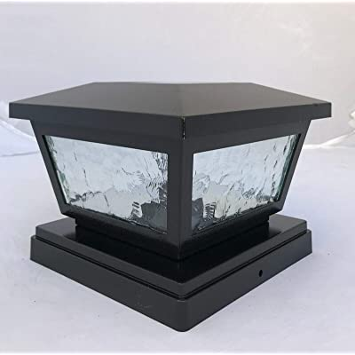 Ntertainment House 2-pcs Solar Post Cap Lights with Pebbled Print Glass Frames and 2 Ultra Bright SMD LEDs w/Optional Wall Mount 6x6 5x5 or 4x4 Base adapters (Hammered Black, 4x4)