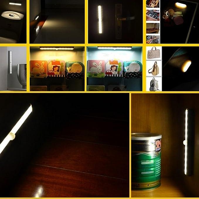 eDealMax con pilas de movimiento PIR sensor de luz 10 LED armario gabinete de escaleras Noche blanca de la lámpara - - Amazon.com
