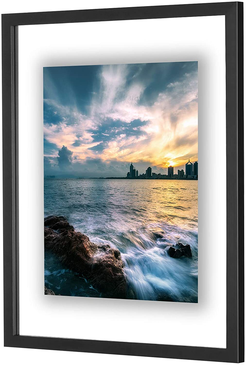 ONE WALL 16x20 Inch Floating Frame, Black Wood Double Glass Float Picture Frame Display 16x20/11x14 Inch Photos or Plant or Petal Specimens for Wall Hanging - Mounting Accessories Included