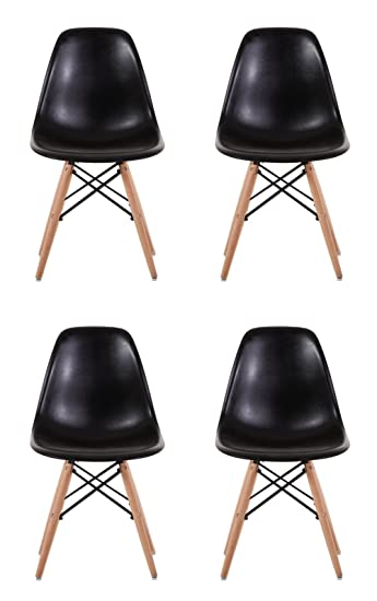 Creation Yusheng Eames Style Dining Chair with Natural Eiffel Base Wooden  Leg Modern plastic Dining Side
