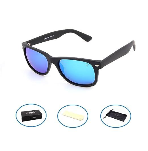 23e77172e10 Tacloft Sunglasses Polarized 55mm Horn Rimmed Sunglasses tl5002 (Black  frame Revo Blue Lens)