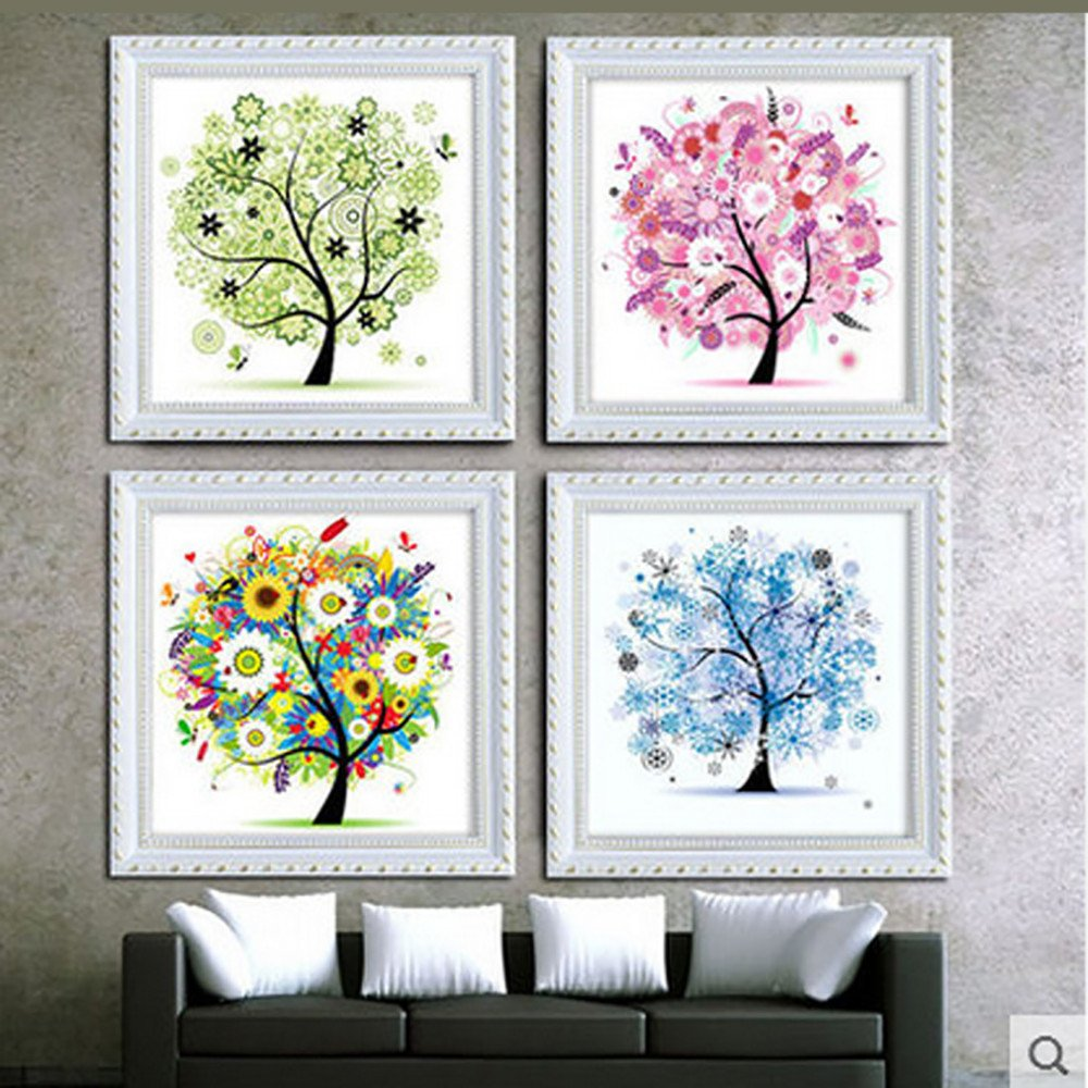 Bescita Cross Stitch Embroidery DIY Cross Stitch Kits Handmade Needlework Embroidery Kits Colorful Tree Home