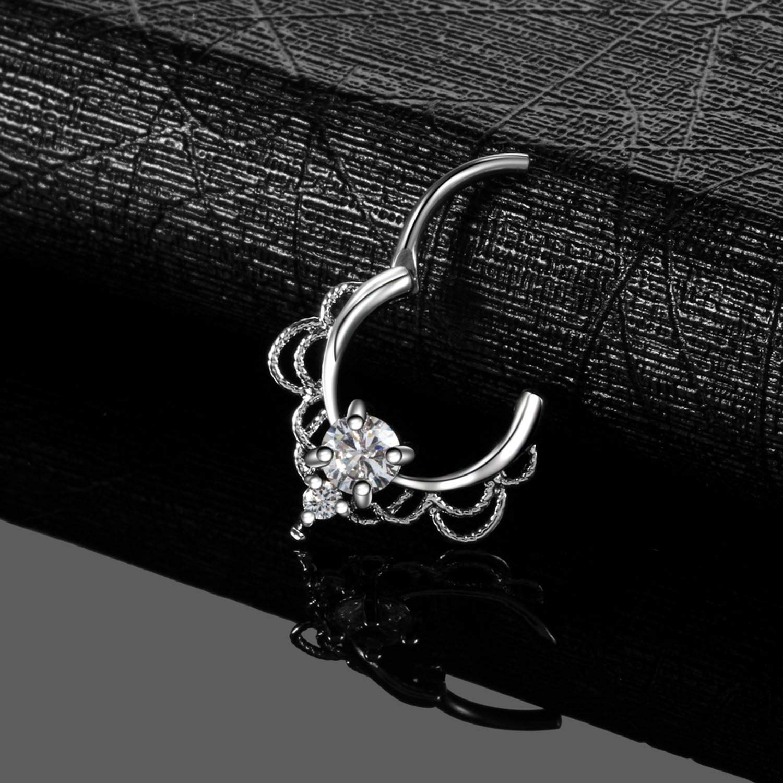 ihuoshang 1 Pc Brass Nose Septum Clicker Ring Crystal Gem Ear Helix Clicker Piercing Earring Septum Piercing