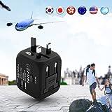 Uvistar Reiseadapter 3 Polig, 4 in 1 für 150 länder Reisestecker Weltweit Universal für Australien Brasilien China England Dänemark USA Europa Asien, Leicht Würfel Wandler mit USB