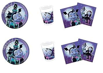 Party Store Web by Hogar Dulce Hogar vampirinia Juego de decoración de Fiesta – Kit N ° CDC (16 Platos 23 cm ,16 Vasos ,20 servilletas)