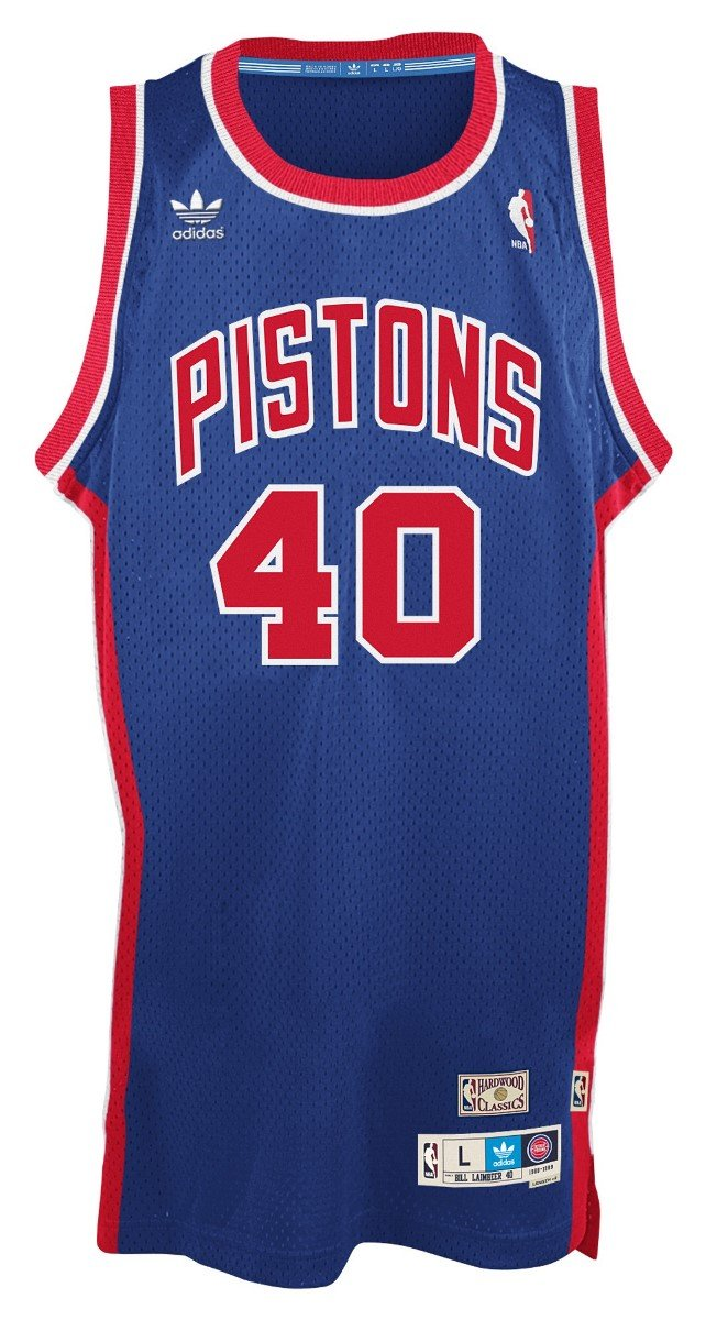 NBA Mens Detroit Pistons Bill Laimbeer Hardwood Classics Blue Swingman Jersey