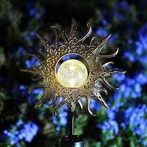 GLAM HOBBY Solar Garden LED Lights Outdoor Metal Decorative Stake Light Crackle Glass Globe-Sun