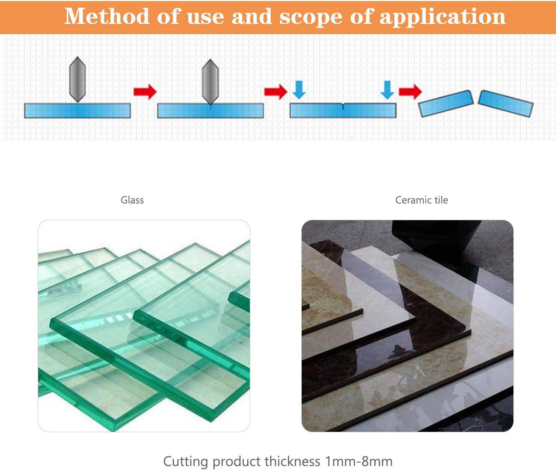 12 mm-20 mm. 6 mm-12 mm Juego de herramientas para cortador de vidrio met/álico Pluma de corte para azulejos de vidrio con cabezal intercambiable y tanque de aceite 2 mm-6 mm