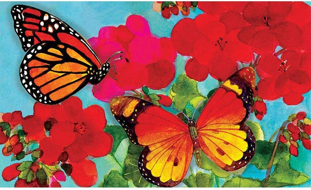 Custom Decor Mat - Geranium Butterlies