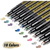Metallic Marker Pens, XSG doodle dazzle markers Set of 10 Colors Fine Point Metallic Permanent Markers for Black Paper…