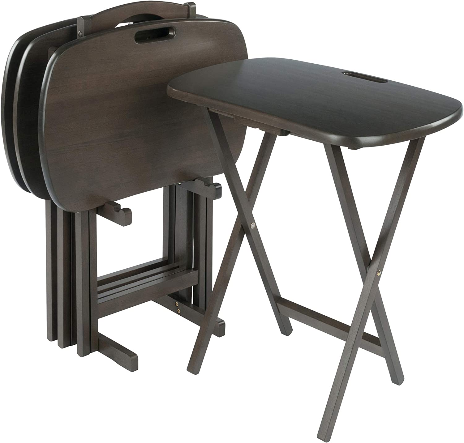Winsome Wood Snack Tables, Oyster Gray