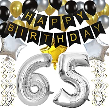 KUNGYO Classy 65TH Birthday Party Decorations Kit Black Happy Brithday BannerSilver 65 Mylar