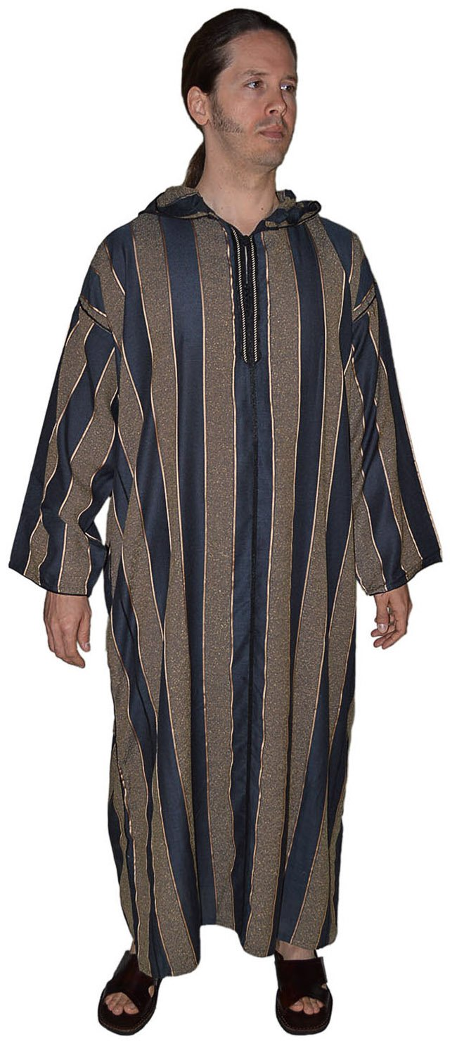 Moroccan Men Clothing Djellaba Handmade and Embroidered Soft Breathable Black