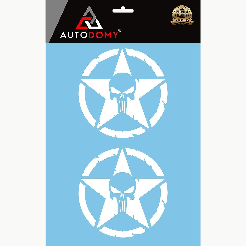 Autodomy Confezione Adesivi Punisher Stella Cranio Trail off Road Sport 4x4 Adventure 2 Pezzi per Auto o Moto Nero, 15 Cm