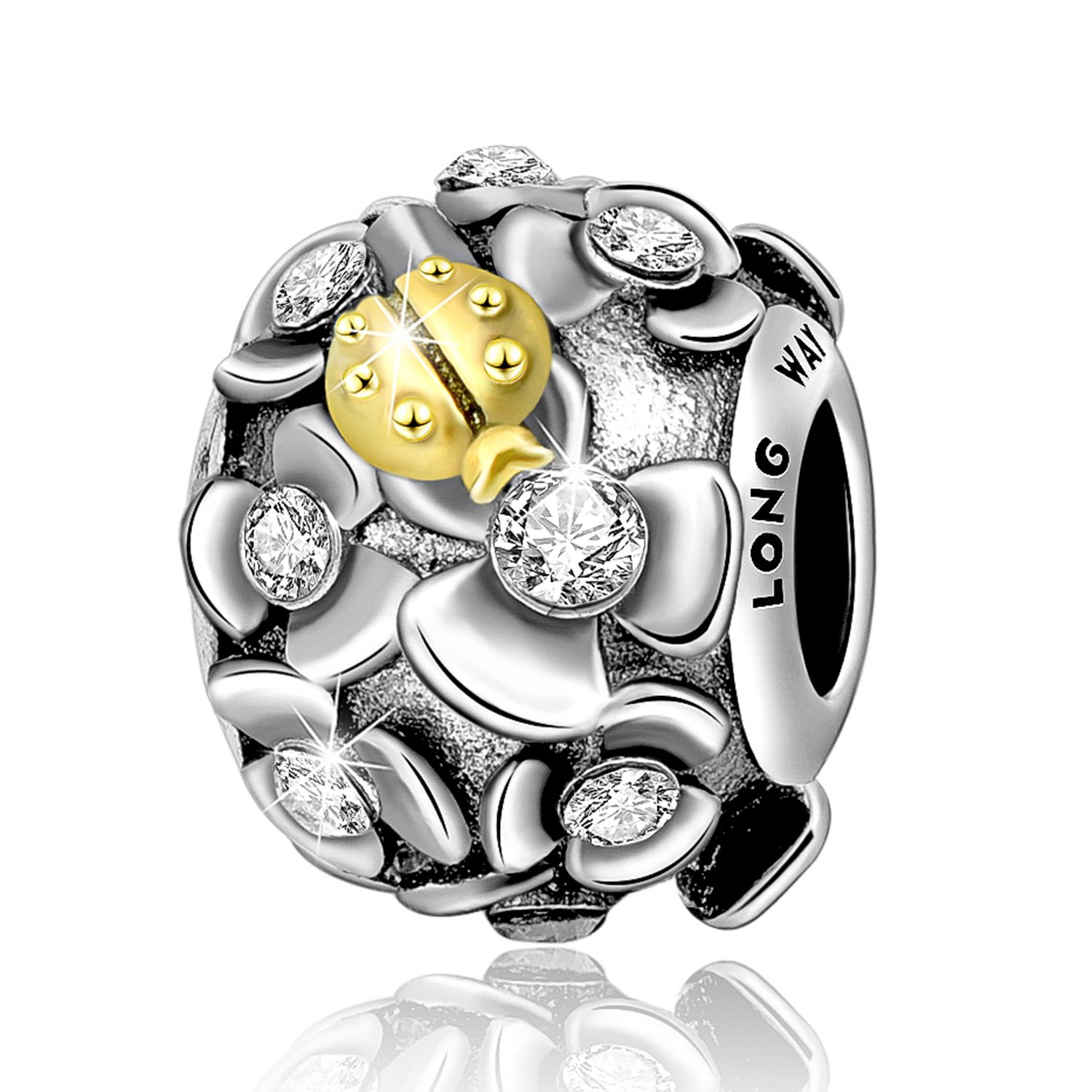 Long Way 925 Sterling Silver Crystal Bracelet Charm with Ladybug Flowers for Women