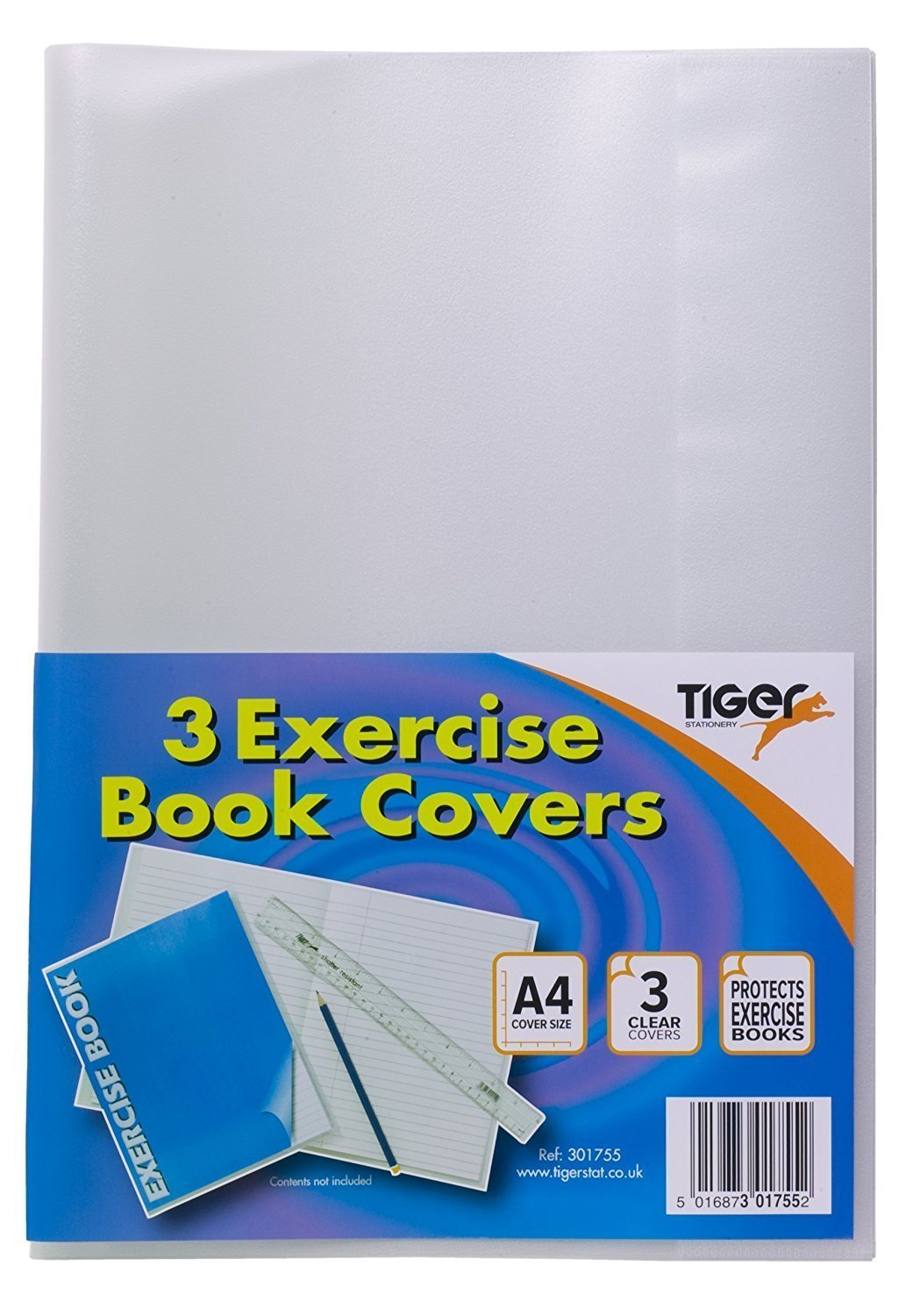 *Value For Money*Tiger A4 Clear Strong Plastic Protective Exercise Book Slip On Cover Jackets x 12 harlquin