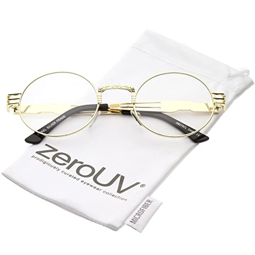 09bf3323616 zeroUV - Unique Engraved Metal Steampunk Inspired Clear Lens Oval Eye  Glasses 60mm (Gold