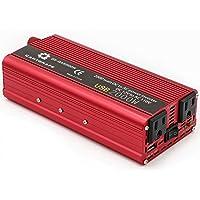 Cantonape 800W/2000W (pico) DC 12V a 110V CA Convertidor de corriente con 3.1A USB adaptador de coche y encendedor de…