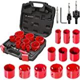 Bi-Metal Hole Saw Kit, HYCHIKA 17 Pcs High Speed Steel 3/4 inches- 2-1/2 inches Set in Case with Mandrels, Durable High…