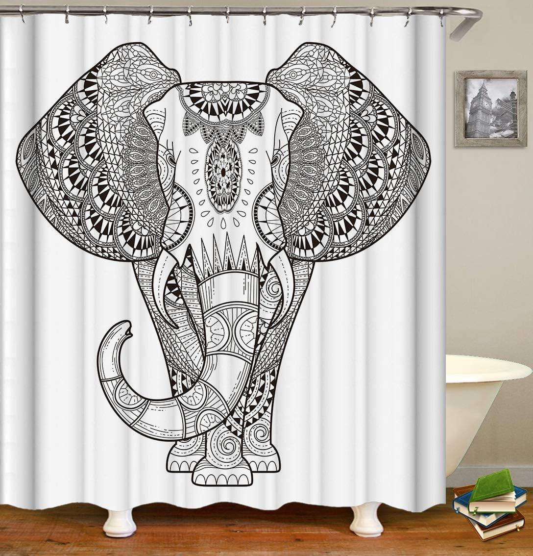 Fabric Shower Curtain,Elephant Ethnic Indian Mandala Floral Paisley Sacred Animal Unique White Polyester Designer Cloth, Print Decorative Bathroom Curtains Include Hooks Set