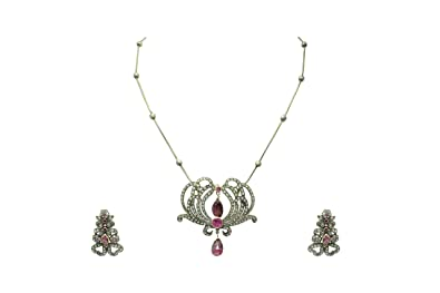 6ac34fe16b Buy PH Artistic Victorian 14 kt Gold 925 Silver Tourmaline Stone Single Cut Diamond  Pendant Set. Online at Low Prices in India | Amazon Jewellery Store ...