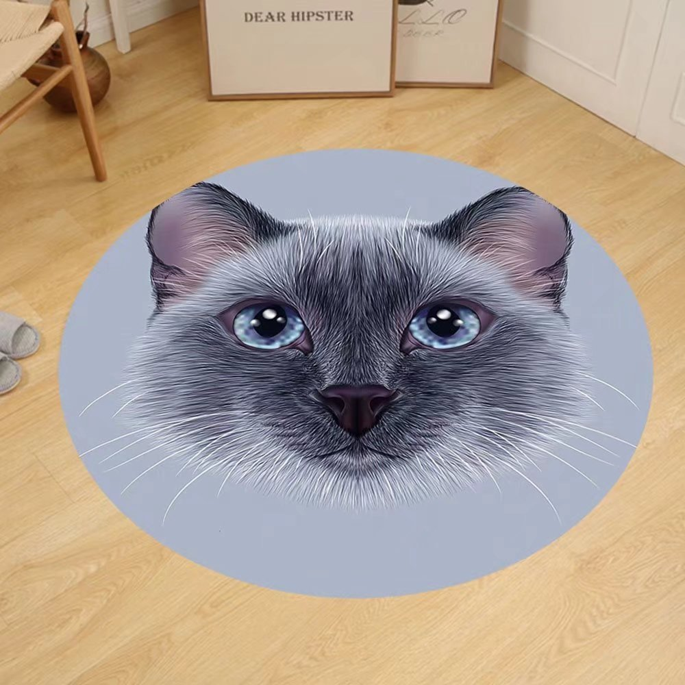 Gzhihine Custom round floor mat Animal Portrait Image of Thai Siamese Cat with Retro Style Lettering Artwork Bedroom Living Room Dorm White Sky Blue and Grey by Gzhihine