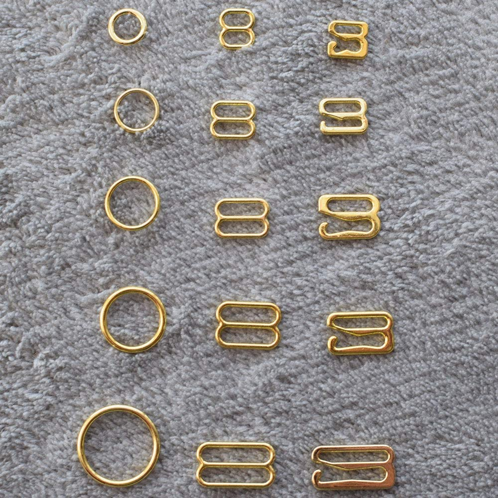 Buckes Size: 12mm, Color: Gold Wholesale 100pcs//lot Silver//Gold//Rose Gold Metal Bra Strap Rings Sliders and Hooks Bra Making Materials 6mm//8mm//10mm//12mm//15mm