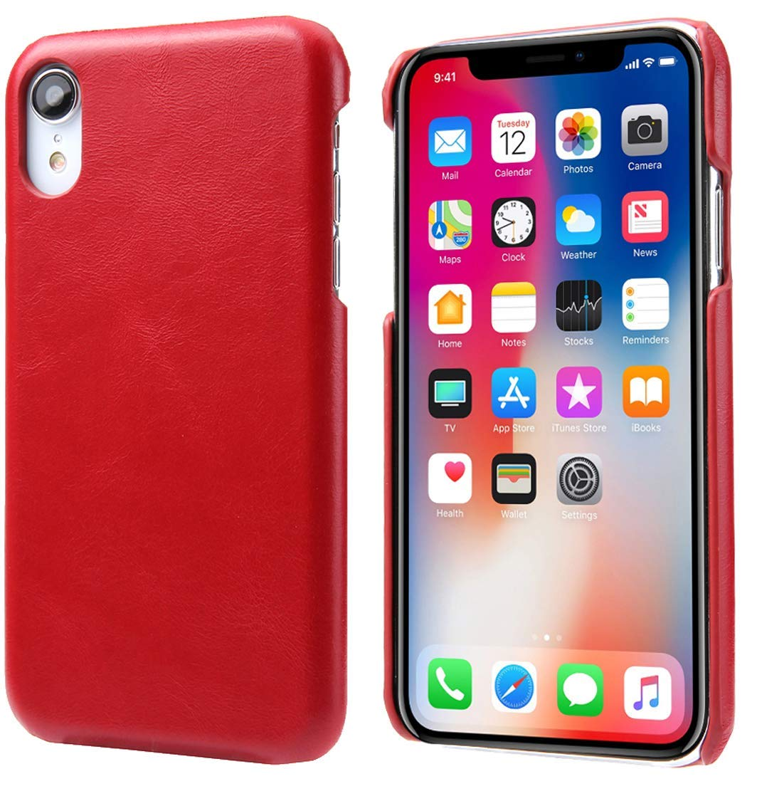 check out 23112 209db iPhone XR Leather Case, Reginn Slim Fit Phone Cover [Wireless Charging  Compatible] Genuine Leather Case for iPhone XR (Red)