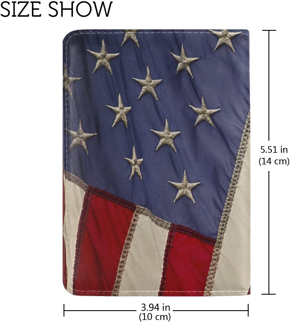 Usa Flag Texture Leather Passport Holder Cover Case Travel One Pocket