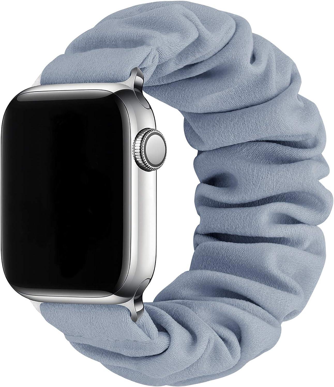 MORETEK Compatible for Scrunchie Apple Watch Bands 38mm 40mm 42mm 44mm,Soft Elastic Wristband Bracelet Women Fabric Scrunchy Band for iWatch Series 6 SE 5 4 3 2 1(Fog Blue,38mm/40mm-S)
