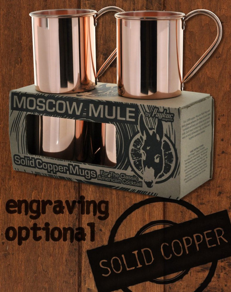 4 Pack - 24oz Solid Copper Moscow Mule Mugs