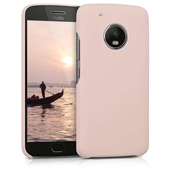 kwmobile Case for Motorola Moto G5 Plus - Soft Durable Shockproof Premium PU Leather Smartphone Back Cover - Antique Pink