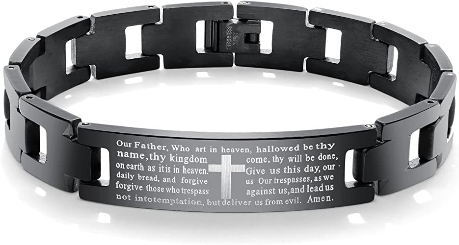 Mens Vintage Stainless Steel Black Cross Silver English Bible Lords Prayer Religious Link Wrist Bracelet Cross Middle, Black Silver, 7.9 inch
