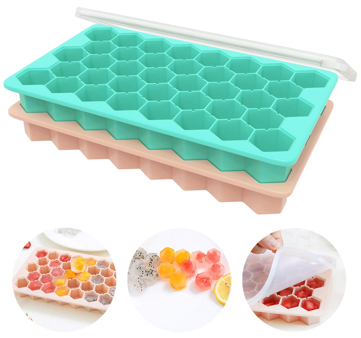 Ice Cube Trays with Lids, Ozera 2 Pack Food Grade Flexible 76 Cubes Silicone Ice Trays with Removable Lid, Ice Cube Molds for Whiskey Storage, Cocktail, Beverages by Ozera