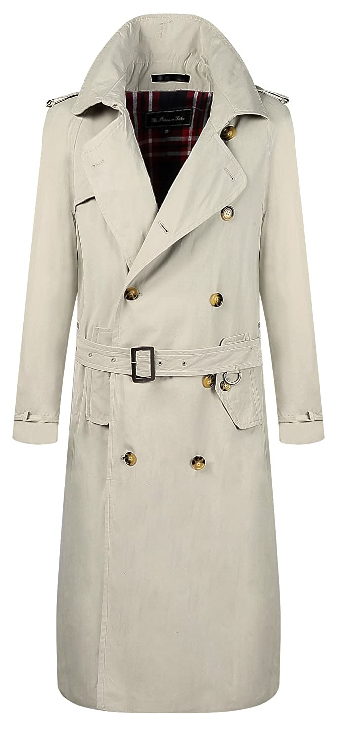 Men's Vintage Style Coats and Jackets The Platinum Tailor Mens Stone Beige Traditional Double Breasted Long Trench Coat Cotton Military Rain Mac $211.08 AT vintagedancer.com