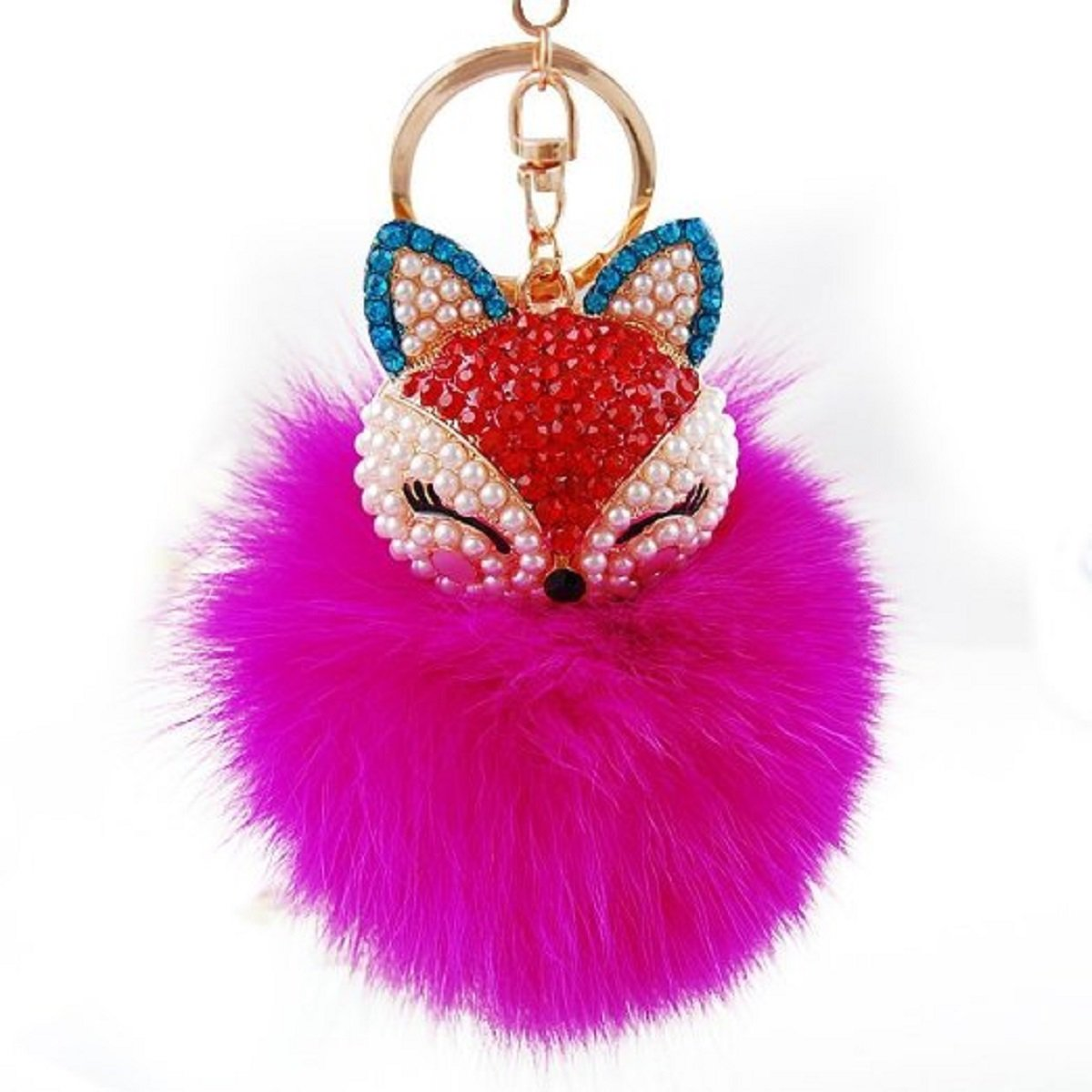 Feililong hübsch Fox Plüsch Ball Kaninchen-Pelz-Kugel Schlüsselanhänger Auto Schlüssel Tasche Telefon Anhänger (Fox Plüsch Ball+Braun)