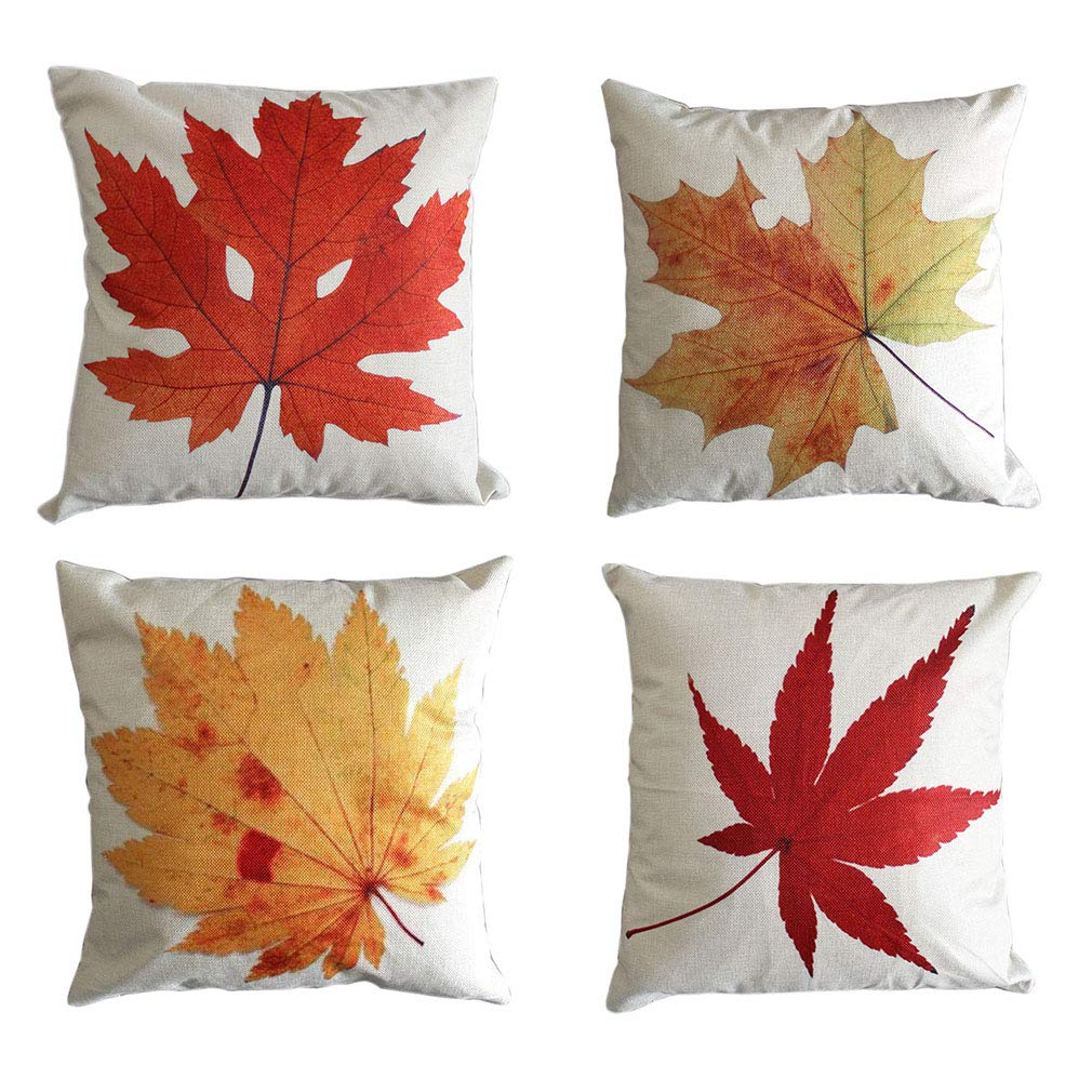 LEIOH Fall Decor Cotton Linen Leaves,Maple Leaf Autumn Decorations Cushion Covers 18 x 18 Inch Sofa Home Decor Throw Pillow Case for Bed Pillow Covers Set of 4