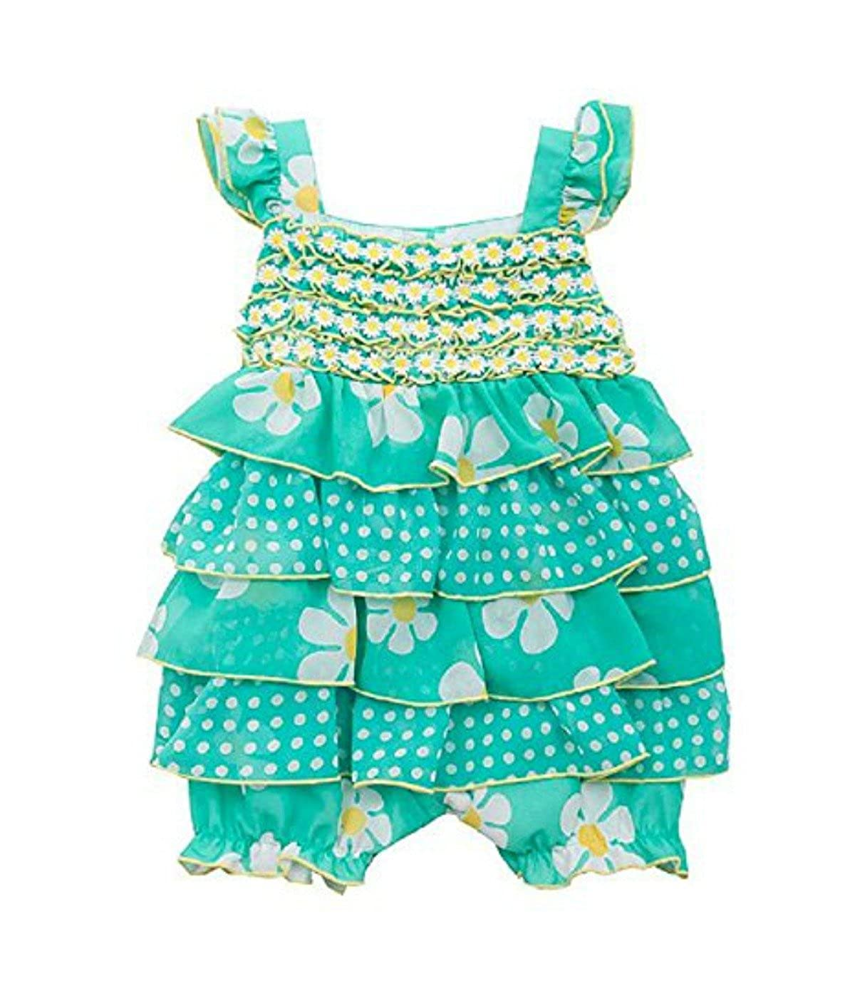 Rare Editions Baby Girls Teal Daisy Print Bubble 6m-24m