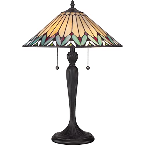 Quoizel TF1433T Pearson Tiffany Table Lamp Lighting, 2-Light, 150 Watts, Black 23 H x 16 W