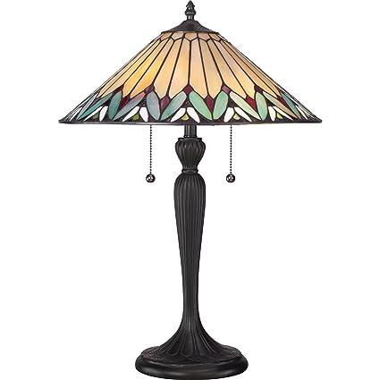 Amazon.com: Quoizel Tiffany Pearson tf1433t lámpara de mesa ...