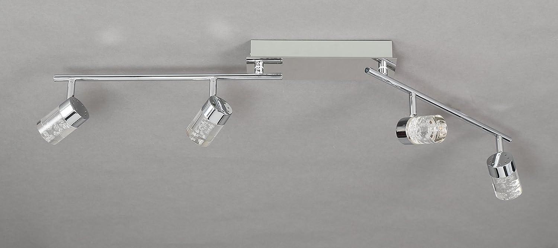 WOFI Deckenbalken, 4-flammig, Serie Maar, 4 x LED, 5 W, 7,5 x 18,5 x 96 cm, chrom 7806.04.01.0000 [Energieklasse A+]