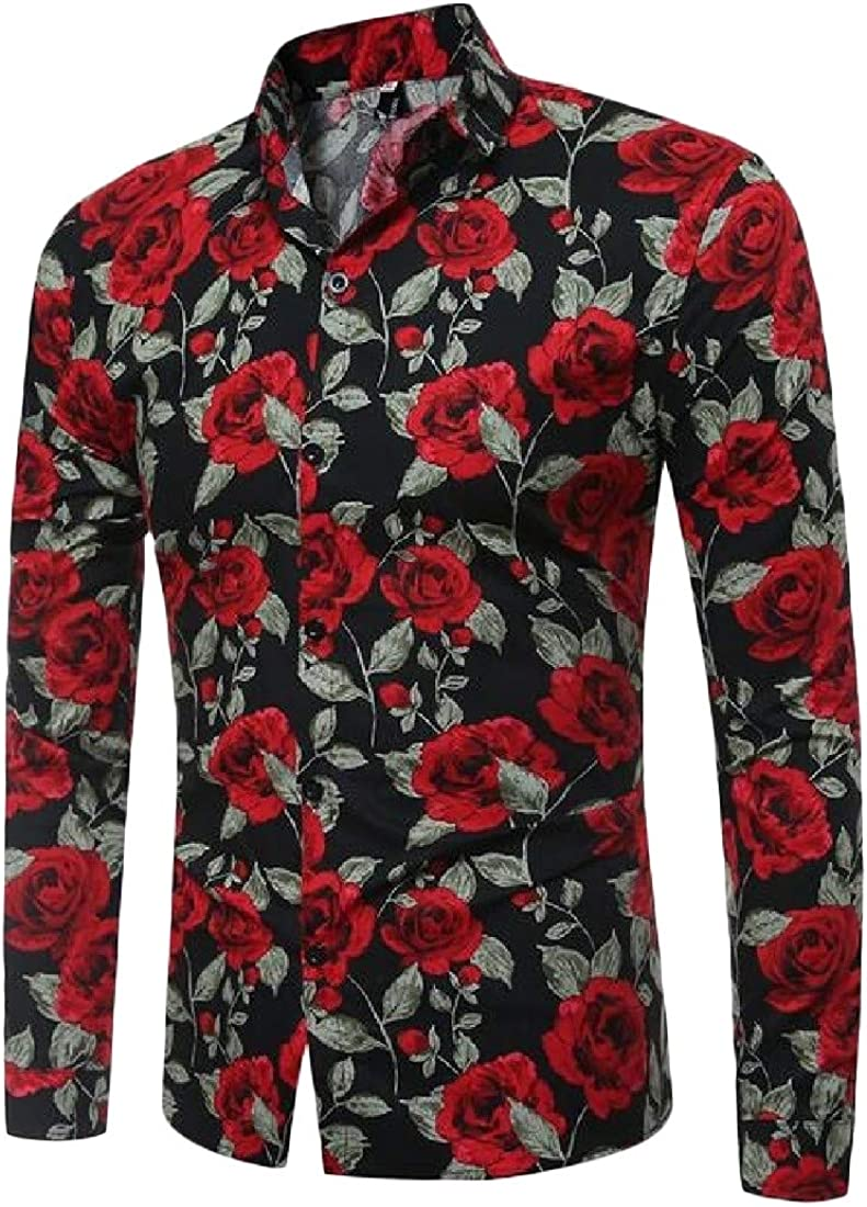 Sweatwater Mens Graphic Flower Casual Slim Fit Button Up Long Sleeve Shirts